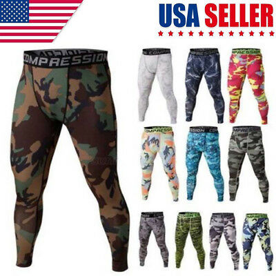 Men Thermal Sport Compression Leggings Base Layer Long Pants Camo Print Trousers