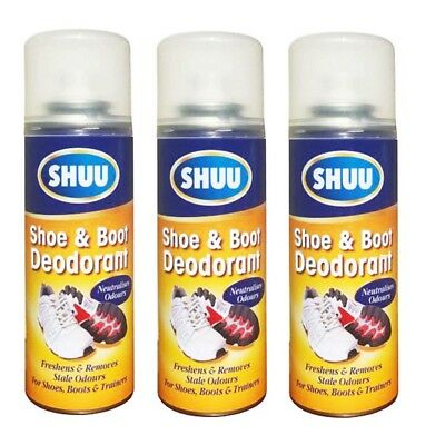 3 x Shoe & Boot Deodorant Spray Neutralises Odour For Boots & Trainers & Shoes