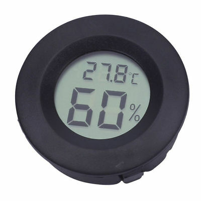 Digital Cigar Humidor Hygrometer Thermometer Round Black Face NEW