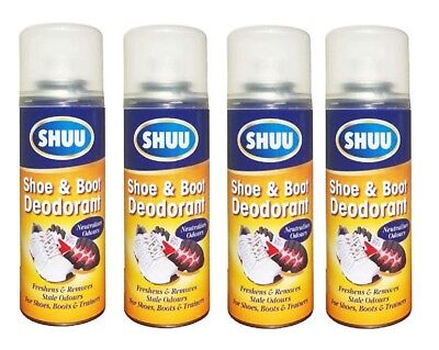4 x Shoe & Boot Deodorant Spray Neutralises Odour For Boots & Trainers & Shoes