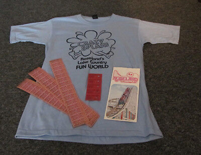 Roseland Park ~ Canandaigua, Ny ~ 1980'S Unworn Ride T-Shirt, Flyer, 50 Tickets