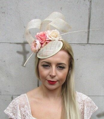 Beige Blush Pink Sinamay Rose Flower Feather Hat Fascinator Races Ascot 5110