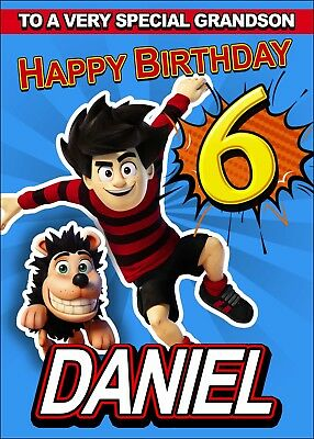 Dennis The Menace PERSONALISED Birthday Card ANY NAME AGE RELATION Son, Daughter