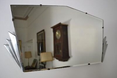VINTAGE 1930s ART DECO ENGLISH MADE BEVELLED GLASS MIRROR MADE READY TO HANG