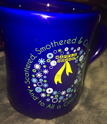 Brand New 2017 Scattered Smothered And Covered.. Waffle House Blue Christmas Mug