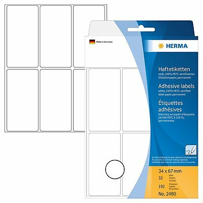 192 Herma Permanent Adhesive Paper Labels, 34 x 67 mm, 6 x 32 Sheets, RRP £6.00