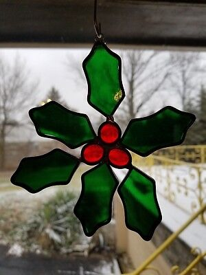 Tiffany Stained Glass Collector Society Holly Flower Vintage Suncatcher  COA