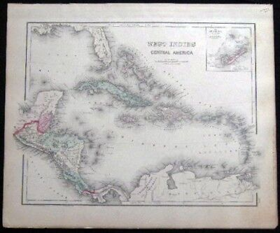 1882 Original Map South America West Indies Inset Map Of Bermuda Hand Colored