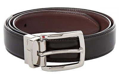 627eceed76c8 Tommy Hilfiger Mens Leather Reversible Belt Silver Buckle 11HP01X022 Black  Brown