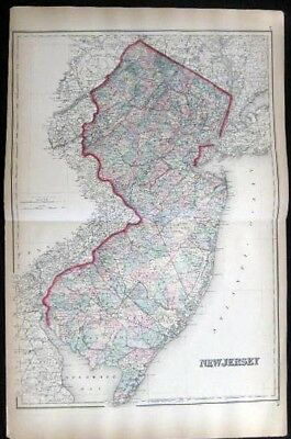 1882 Original Double-Page Map New Jersey Hand Colored