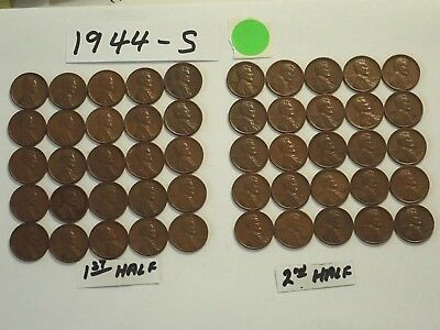 1944-S Solid Date = Roll Of 50 Lincoln Wheat Cent Pennies