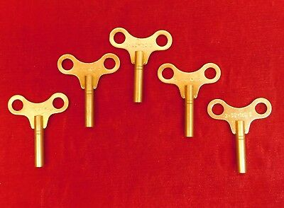 Set of 5 Clock Winding Keys 3.0 mm #3 Savers Lot 3 mm Solid Brass Number 3 Size