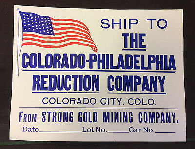CRIPPLE CREEK GOLD DISTRICT MINING SIGN Strong Gold Mining COLORADO 1898