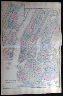 1882 Original Double-Page New York City Map Hand Colored Brooklyn Jersey City