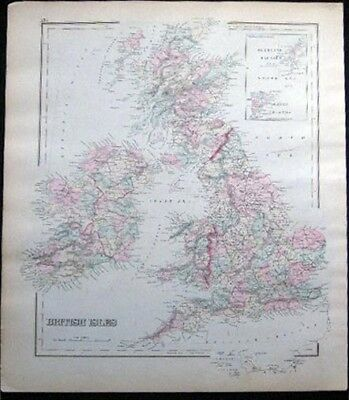 1882 Original British Isles Map Hand Colored + Map Of Europe