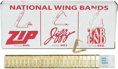 National Band & Tag Brass Wing Band Animal Ear Tags 1-100 (100 ct)
