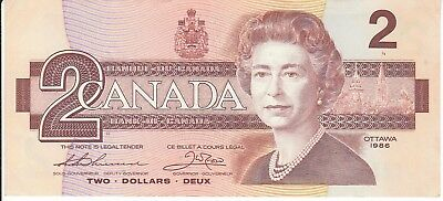 1986 (1) Canadian Bill 2 Two Dollar Canada Thiessen Crow BRZ5123217 Circulated