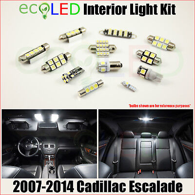 For 2007-2014 Cadillac Escalade WHITE LED Interior Light Package Kit 16 Bulbs