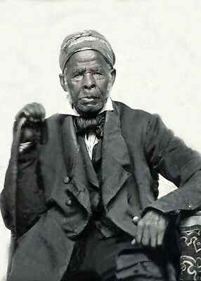 1860 Slave of Richard Townsend-Elderly African American Man-Holding Bow a Saw