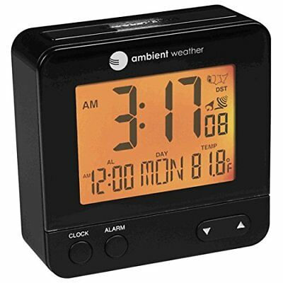Ambient Weather RC-8300 Atomic Travel Compact Alarm Clock with Auto Night Lig...