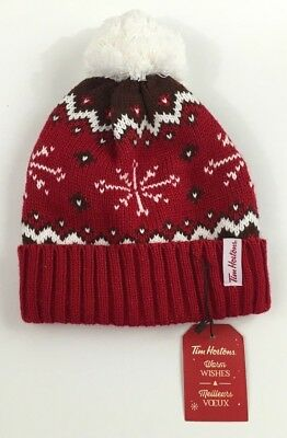 Tim Hortons Christmas Red White Black Knit Hat Toque Pom Pom Tim's New Tag NWT