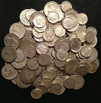 1/4Oz.++ 90% Junk Silver Coin Lot- No Nickels!!!30 Cent Face Value.