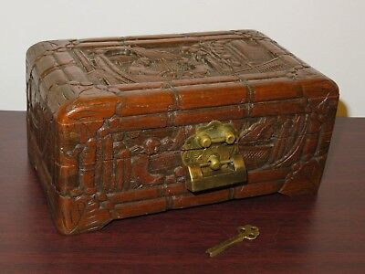 Antique Hand Carved Wooden Good Luck Chest/Box With Lock - British Hong Kong