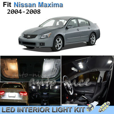 For 2004 2008 Nissan Maxima Luxury White Interior LED Lights Kit 9 Pieces