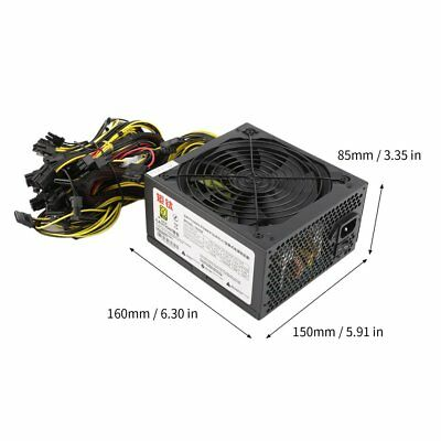 1600W Power Supply For 6GPU Eth Rig Ethereum Coin Mining Miner Dedicated DE