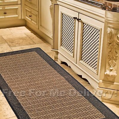 BARI BLACK BROWN INDOOR OUTDOOR FLOOR RUG RUNNER 67x230cm **FREE DELIVERY**