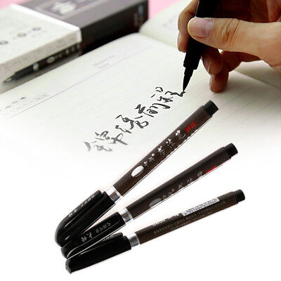 3pcs Chinese Japanese Calligraphy Brush Pen Set Size S M L - Black Ink