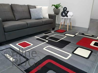 Grey Floor Rug Abstract Pattern Multicolour Carpet Extra Large - 200 X 290 Cm