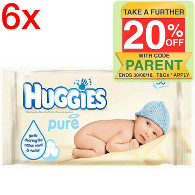 Huggies w/ 336 Wipes Pure Gentle Baby Wipes/Natural Absorbent Fibres for Infant