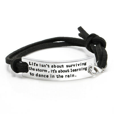 Infinity Bracelet Silver Inspiring Quotes Leather Bangle Jewelry Gift Handmade