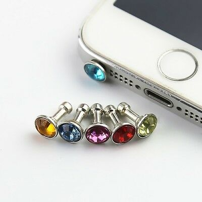 5Pcs Random Color 3.5mm DIAMOND DUST PLUG EARPHONE for iPhone Phone Accessories