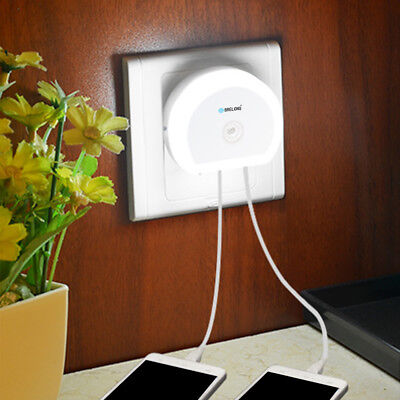Brelong Creative Light Switch+Sensor Led Night Light With Dual Usb EU/US