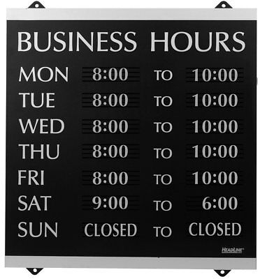Headline Sign Century Series Business Hours Sign, Heavy-Duty Plastic, 13x14, Blk
