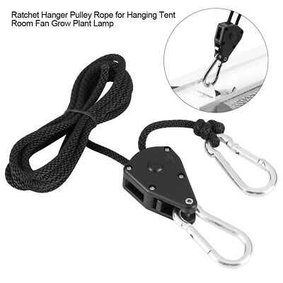 "2X 2m 1/8"" Ratchet Hanger Pulley Rope for Tent Room Fan Grow Plant Lamp 105lb HG"