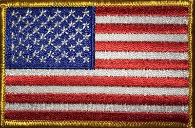 AMERICAN FLAG MILITARY MORALE EMBROIDERED PATCH iron-on GOLD BORDER MADE IN USA