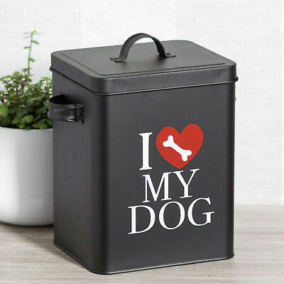 I Love My Dog Food Storage Container Treats Biscuits Barrel Tin Bin Lid Holder