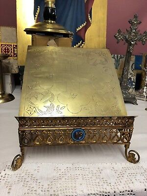 Rare Stunning 19th Century French Missal Stand - Cloisonne Emblem