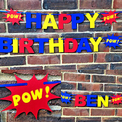 Personalised Happy Birthday banner bunting super hero 1st party decorations Boys