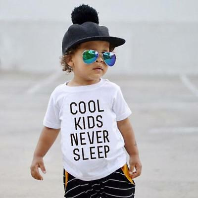 Toddler Kids Baby Girls Boys Cool Letter Print Soft Tops Cute T-Shirt Clothes