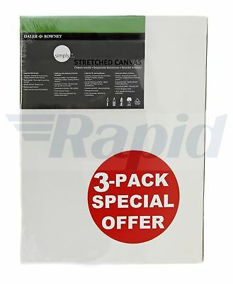 """Daler Rowney Simply Canvas Pack of 3 - 60 x 80cm / 24 x 32"""""""