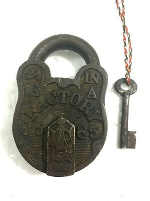 Antique Old Hand Carved Solid Brass Padlock Factory  85