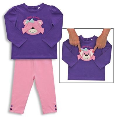 Peek A Boo Teddy Bear Baby Girl Outfit Purple Baby Long Sleeve Shirt Pink Pant