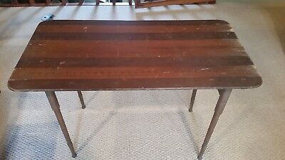 Antique seamstress table, 19th century wooden folding sewing table, with ruler