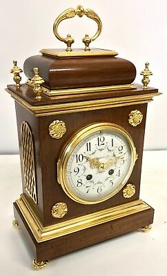 Russell's Liverpool Antique Walnut TING TANG Strike Bracket Mantel Clock F MARTI