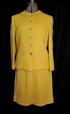 VTG 60's Bardley Country and Town Yellow Check Boucle Wool Suit Size Small Lined