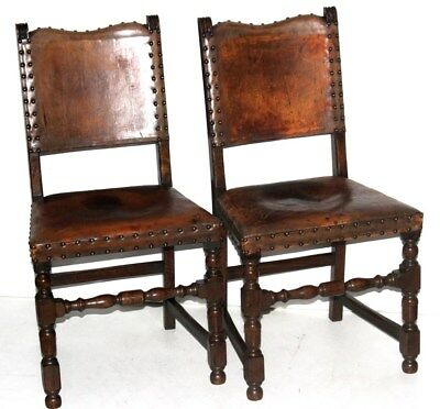Pair of Antique Cromwellian Mahogany Dining Chairs - FREE Shipping [PL4217]